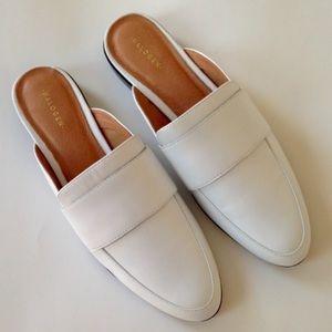 Halogen white leather slide on loafer mules